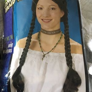 Braided long black wig.